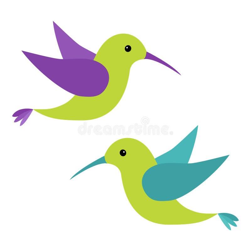 Grupo do ícone do pássaro de voo de Colibri Personagem de banda desenhada bonito Logotipo do colibri Verde, azul, violeta, cor ilustração do vetor