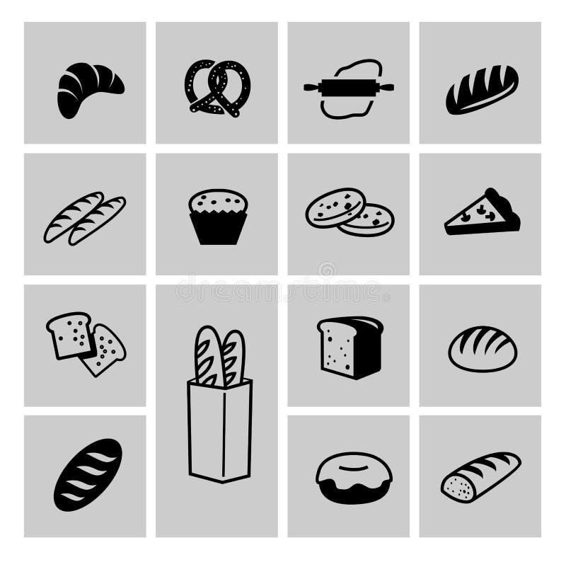 Grupo do ícone do pão ilustração stock