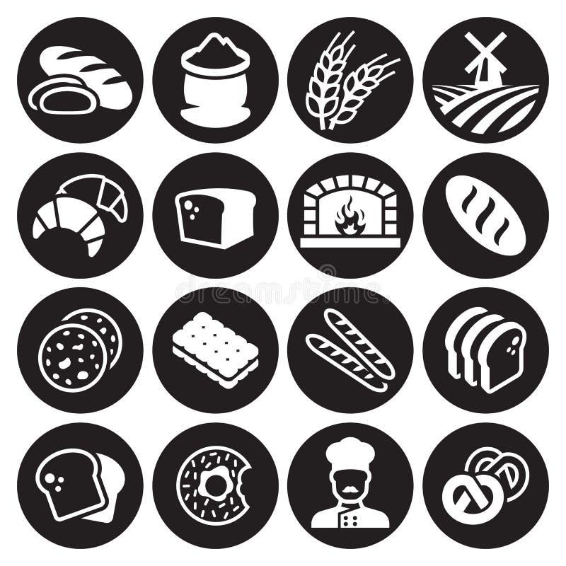 Grupo do ícone do pão da padaria ilustração royalty free