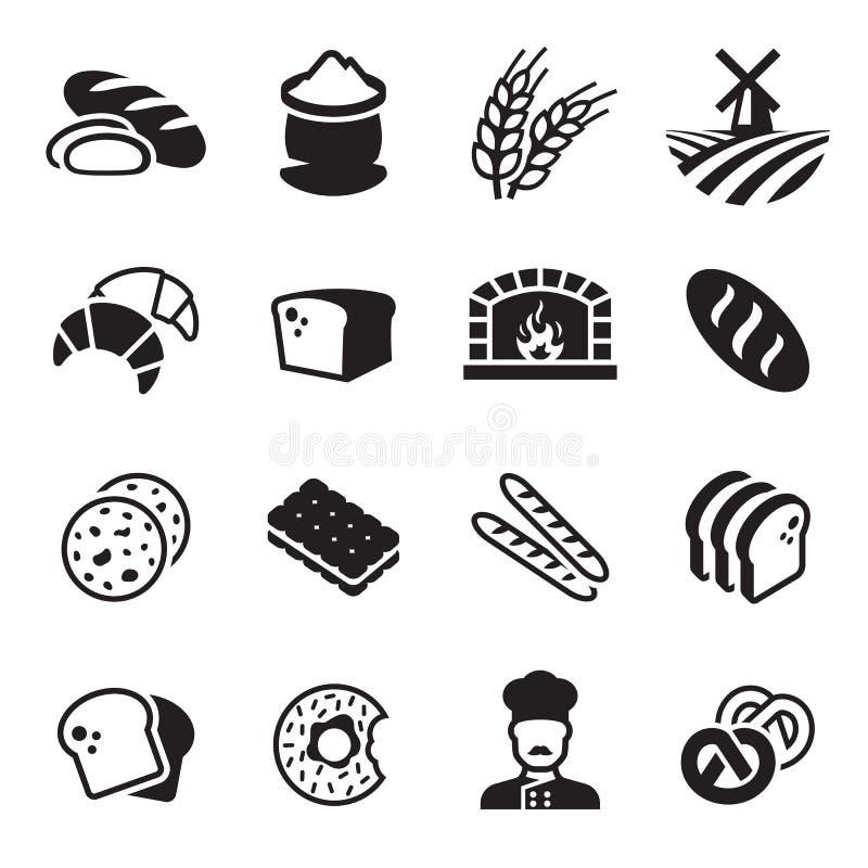 Grupo do ícone do pão da padaria imagem de stock