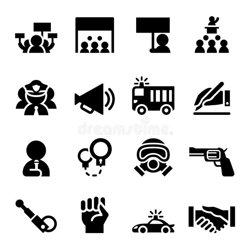 Grupo do ícone do protesto ilustração do vetor