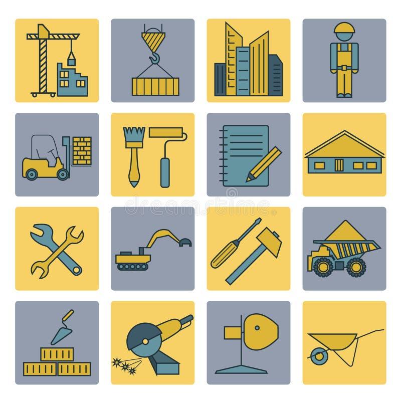 Grupo do ícone do reparo da construção e da casa Linha fina projeto ilustração stock