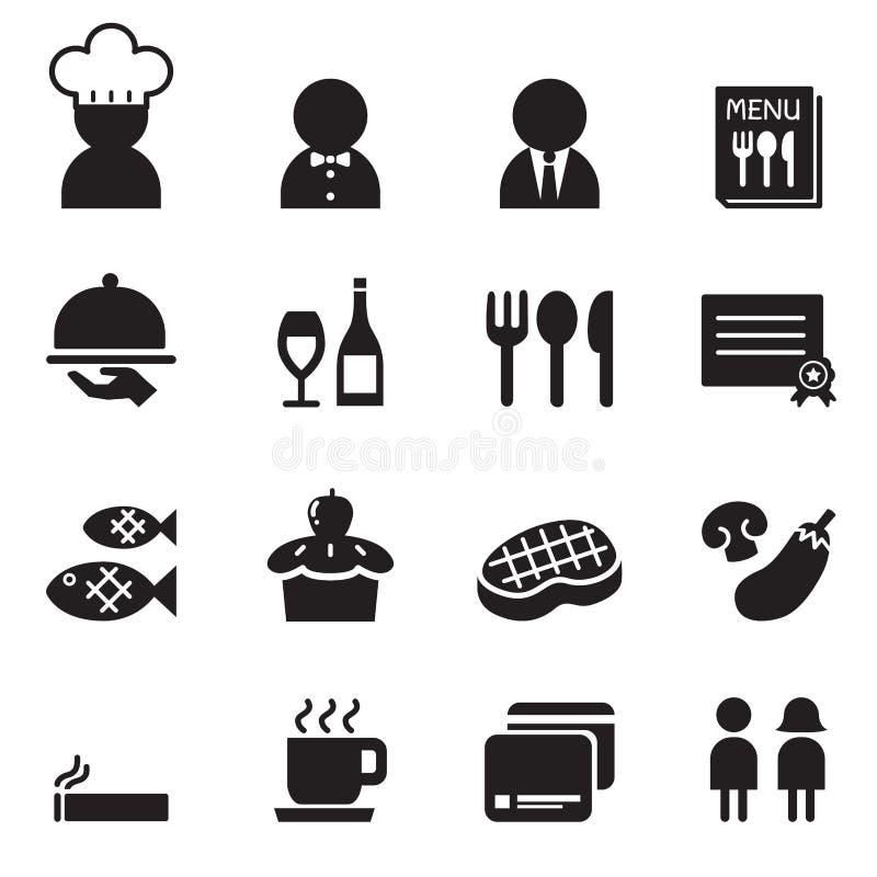 Grupo do ícone do restaurante ilustração royalty free