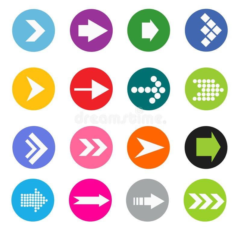 Grupo do ícone do sinal da seta ilustração stock
