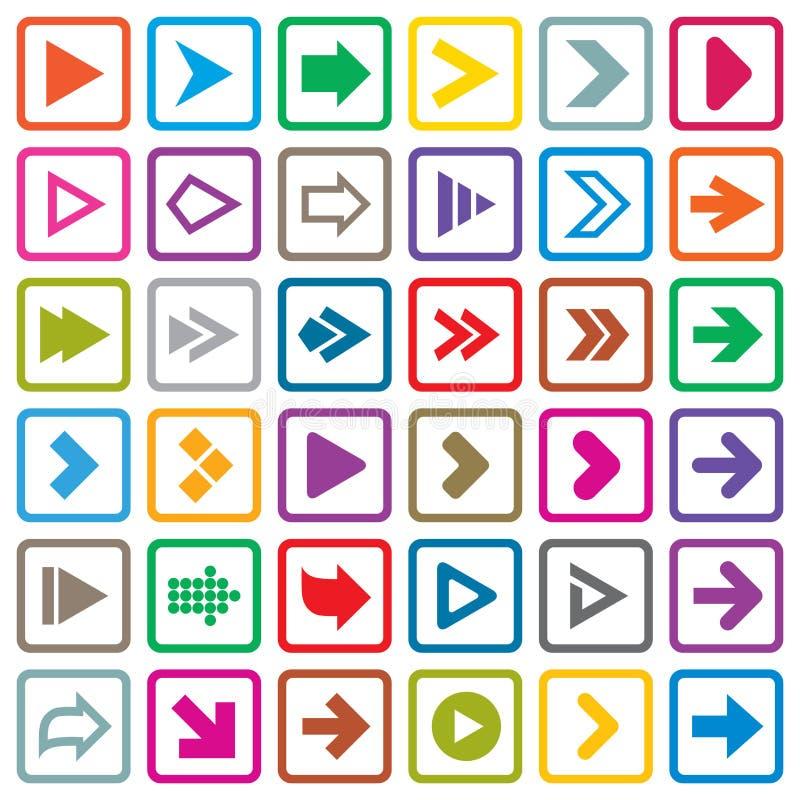 Grupo do ícone do sinal da seta. Botões do Internet no branco ilustração royalty free