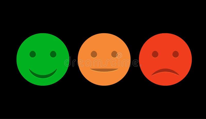 Grupo do ícone do smiley Emoticons positivo, ponto morto e negativo Humor vermelho e verde isolado vetor Sorriso de avaliação par ilustração royalty free