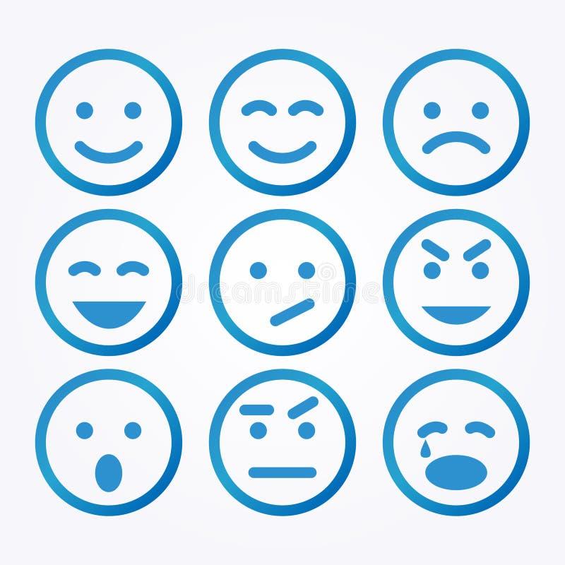 Grupo do ícone do sorriso ilustração do vetor