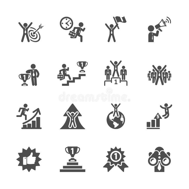 Grupo do ícone do sucesso comercial, eps10 ilustração royalty free