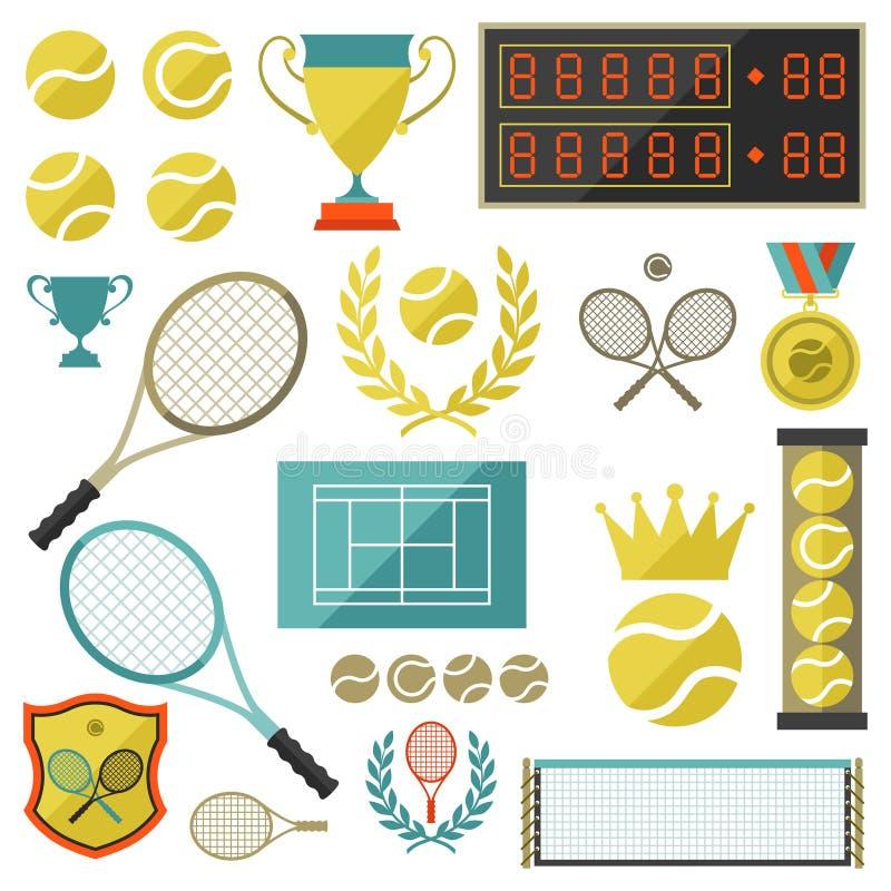 Grupo do ícone do tênis no estilo liso do projeto ilustração stock
