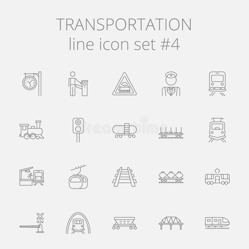 Grupo do ícone do transporte ilustração stock