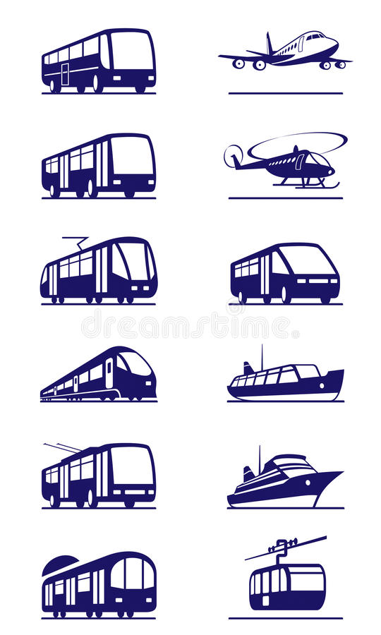 Grupo do ícone do transporte público ilustração royalty free