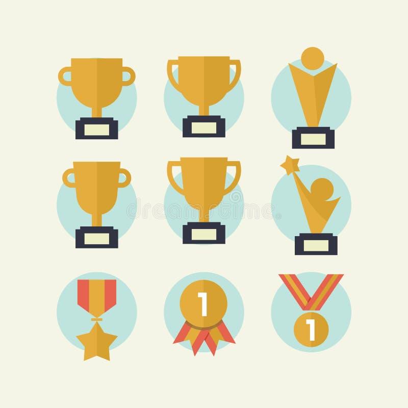 Grupo do ícone do troféu ilustração royalty free