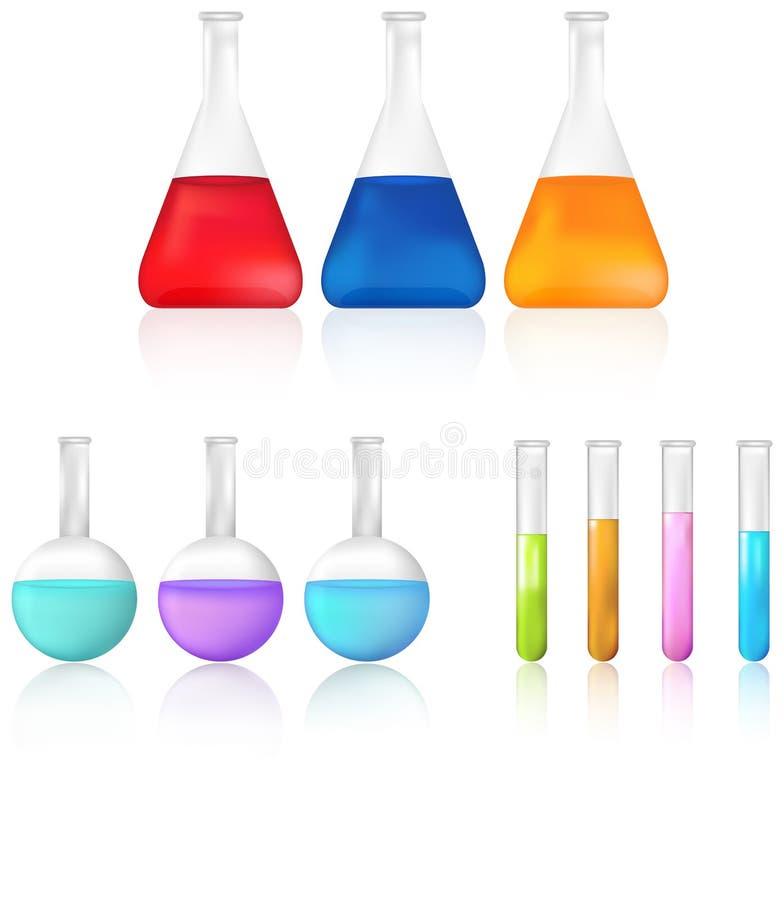 Grupo do ícone do tubo de ensaio e da taça da ciência ilustração stock