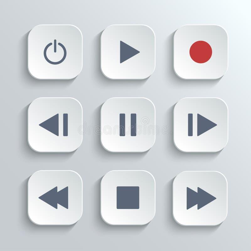 Grupo do ícone do ui do botão do controle do reprodutor multimedia ilustração royalty free
