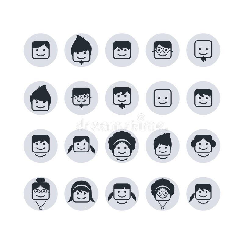Grupo do ícone do usuário do retrato do Avatar ilustração stock