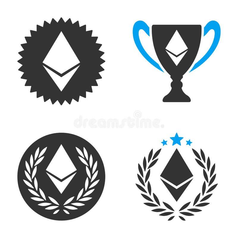 Grupo do ícone do vetor da concessão de Ethereum ilustração stock