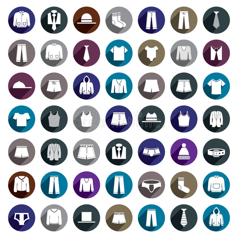Grupo do ícone do vetor da roupa do homem ilustração do vetor