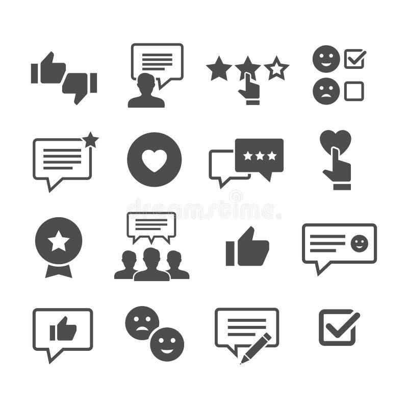 Grupo do ícone do vetor das revisões do cliente ilustração royalty free