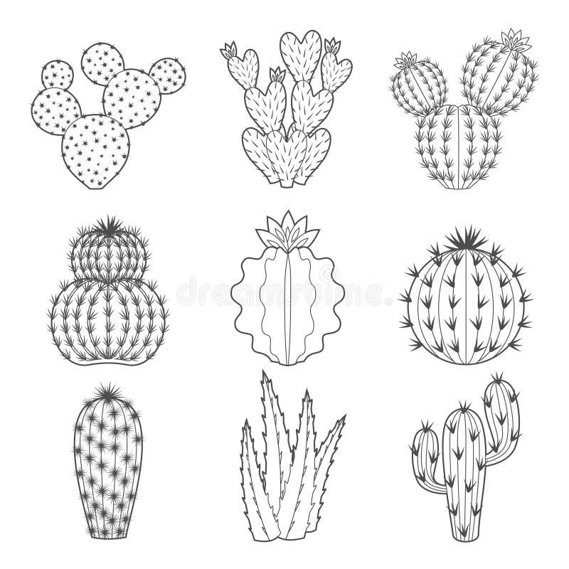 Grupo do ícone do vetor de cacto e de planta carnuda do contorno fotos de stock royalty free