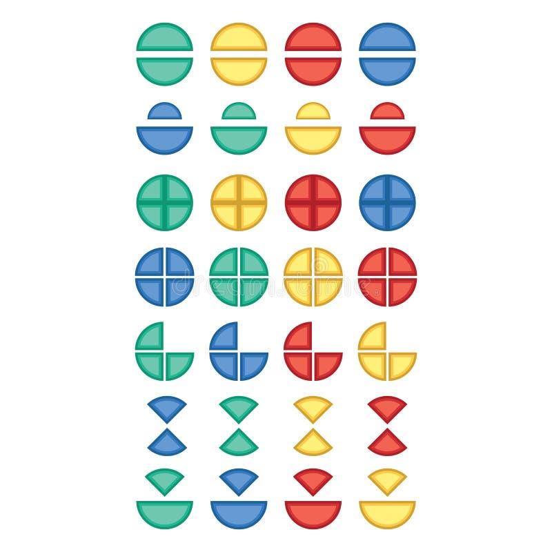 Grupo do ícone do vetor de várias multi peças da cor do círculo ilustração do vetor