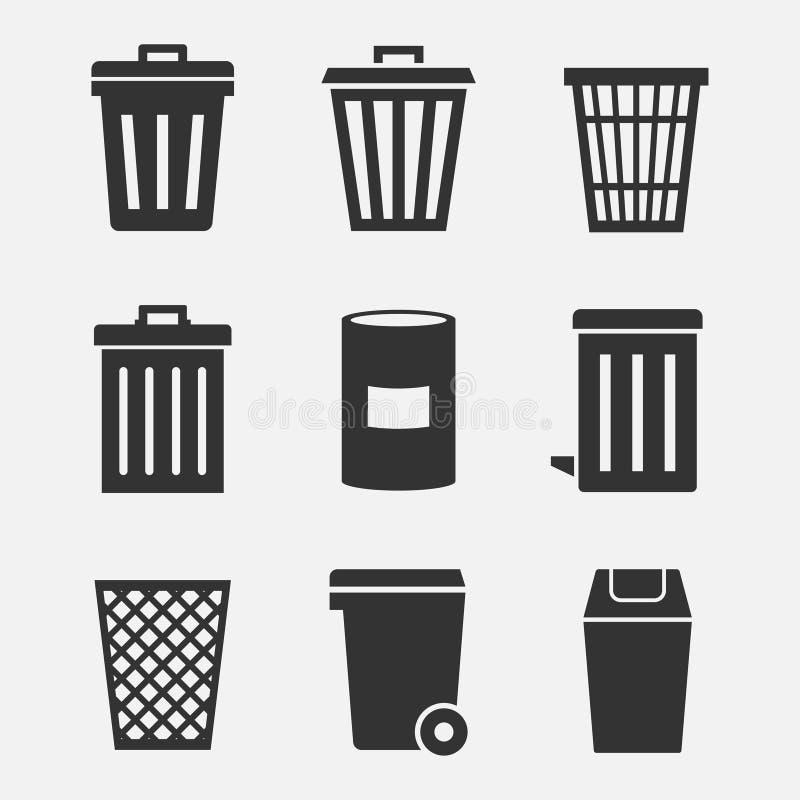 Grupo do ícone do vetor do balde do lixo ilustração do vetor
