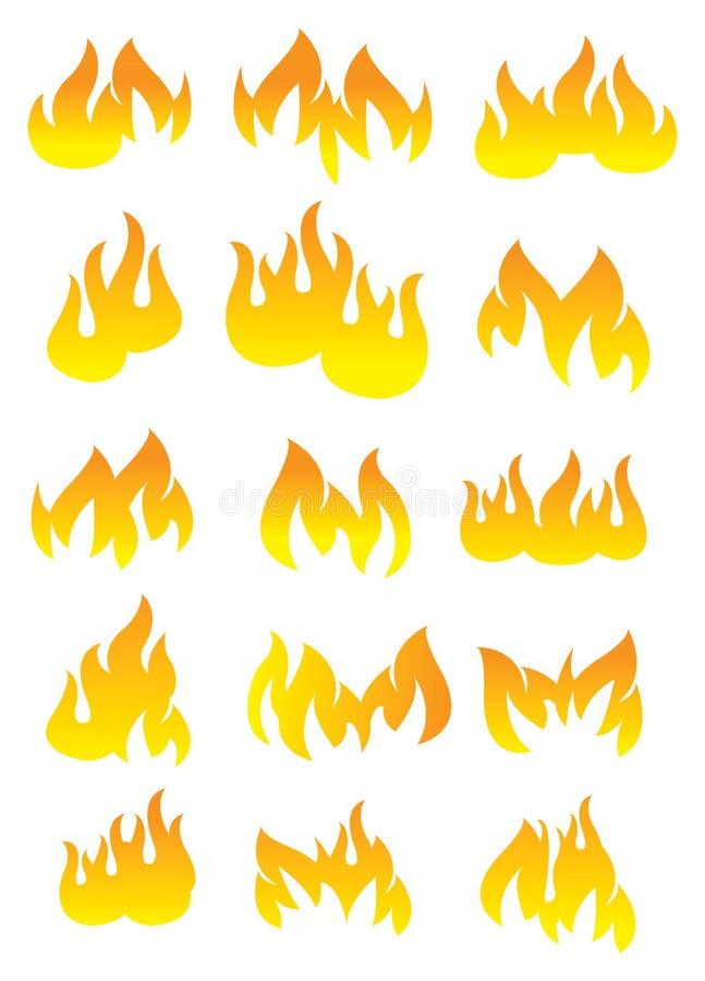Grupo do ícone do vetor do fogo e da chama ilustração do vetor