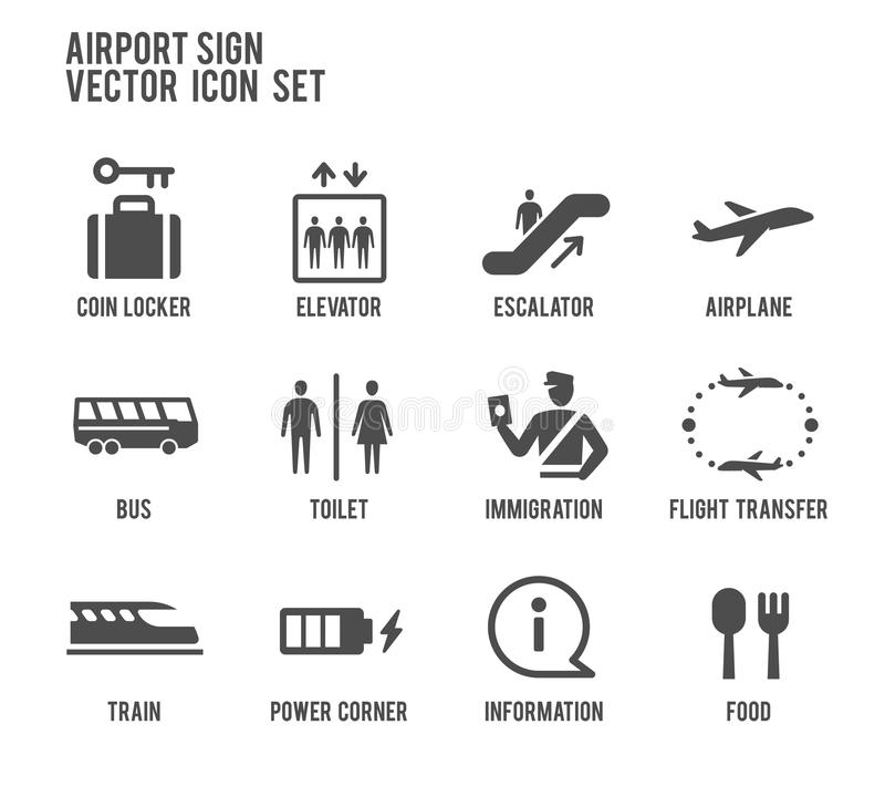 Grupo do ícone do vetor do sinal do aeroporto ilustração royalty free