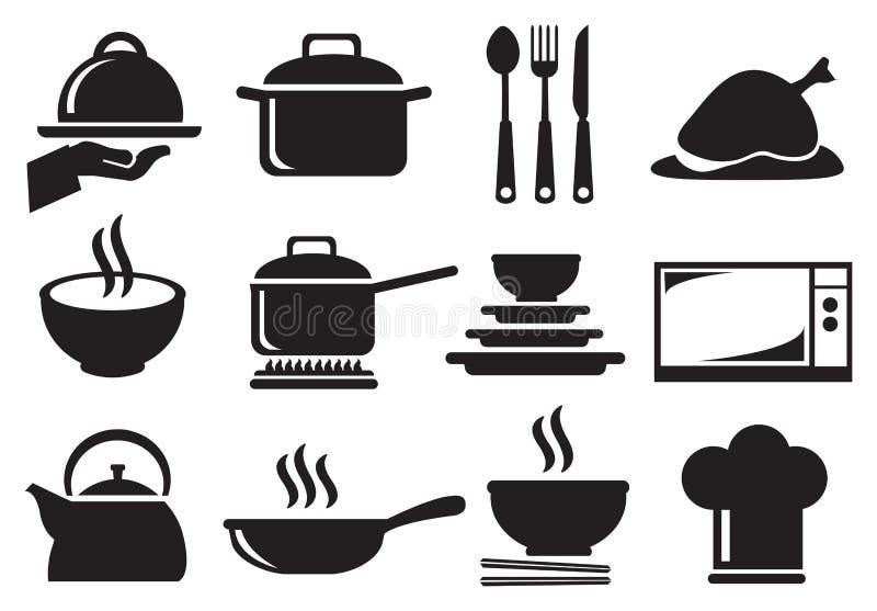 Grupo do ícone do vetor do utensílio da cozinha ilustração stock