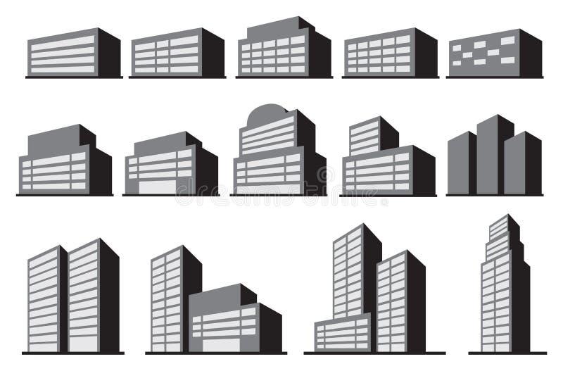 Grupo do ícone do vetor dos blocos de prédio de escritórios do arranha-céus ilustração stock