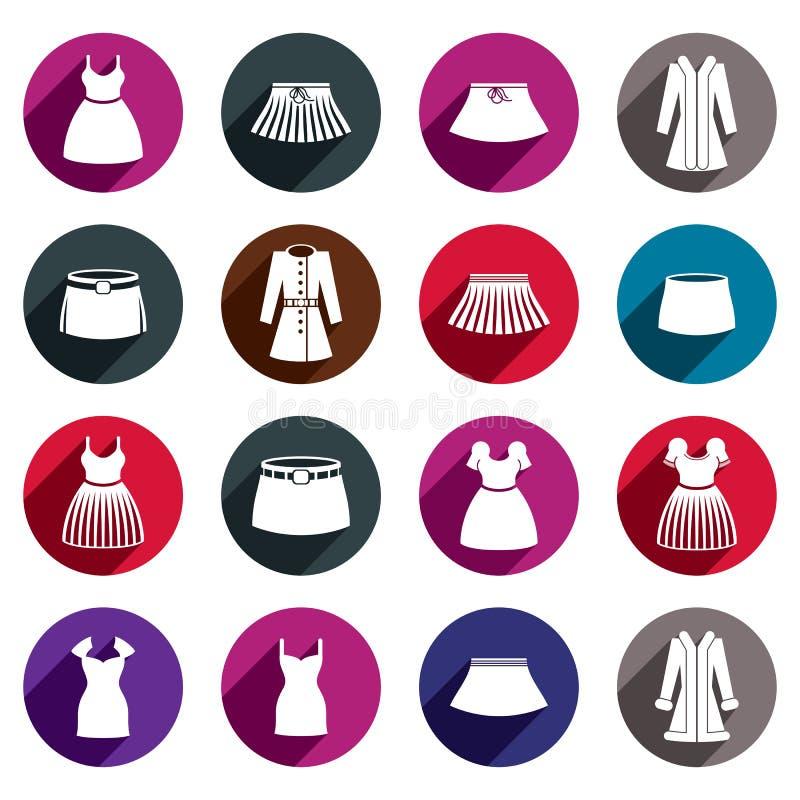 Grupo do ícone do vetor dos vestidos e das saias ilustração do vetor