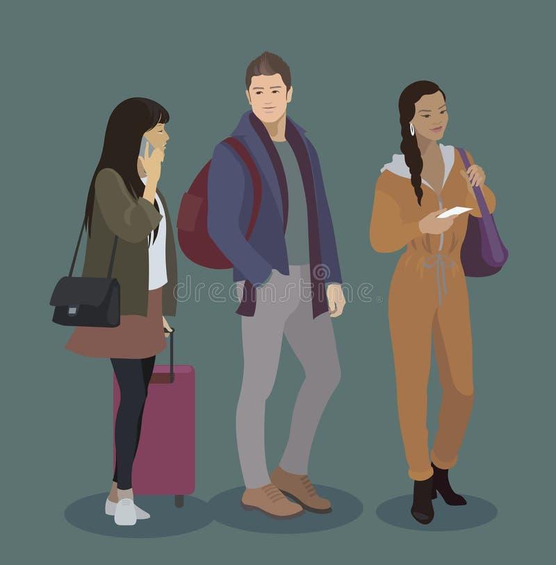 Grupo do ícone do viajante Homem e mulheres com bagagem, telefone esperto, bilhetes Povos no aeroporto, trem, ônibus, viagem do n ilustração do vetor