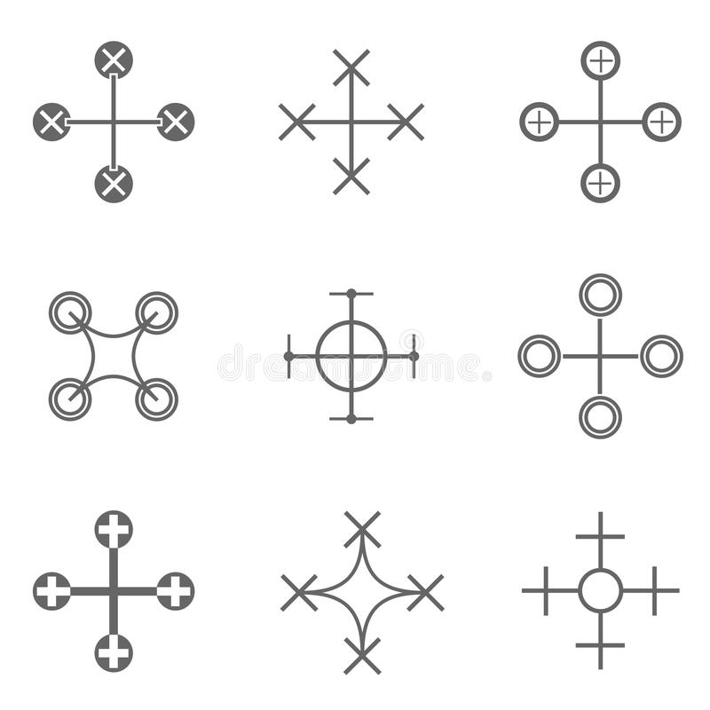 Grupo do ícone do zangão ilustração do vetor