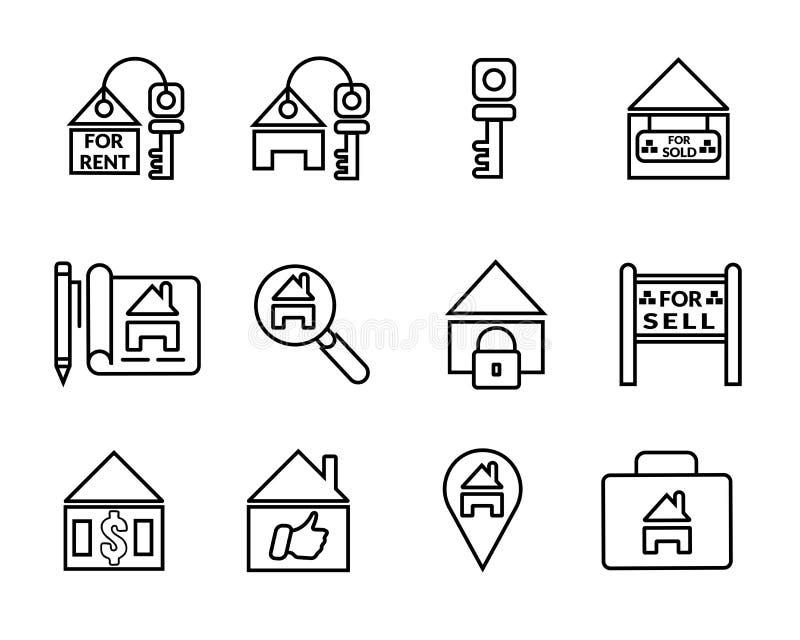 Grupo do ícone dos bens imobiliários de casa de negócio ilustração royalty free