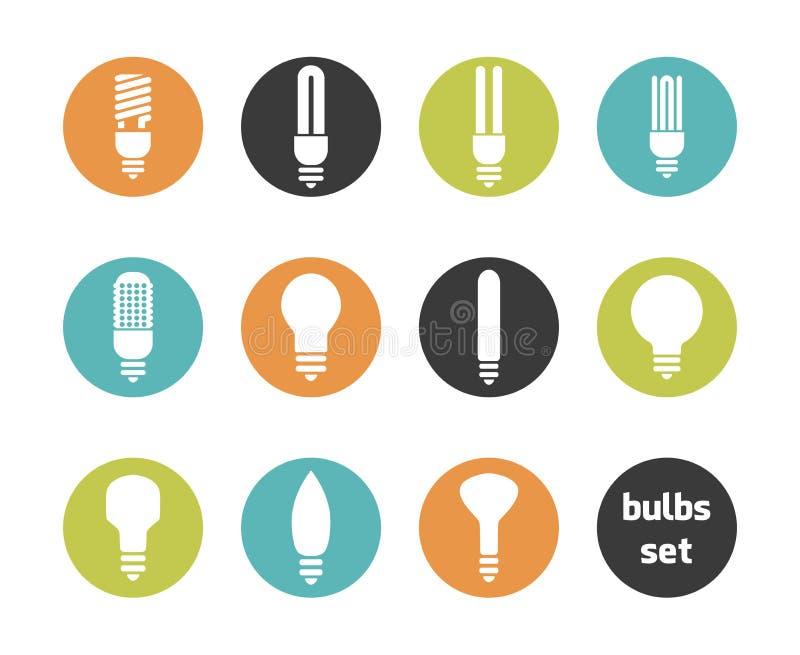 Grupo do ícone dos bulbos ilustração do vetor