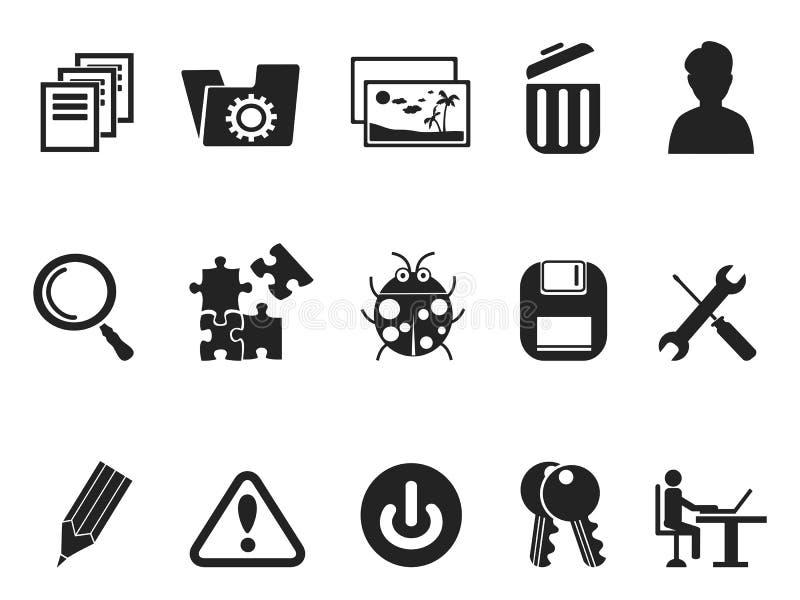 Grupo do ícone dos colaboradores do software e do programa da TI ilustração stock