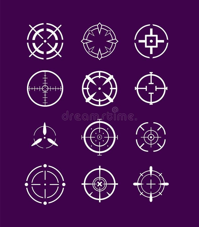 Grupo do ícone dos Crosshairs ilustração stock
