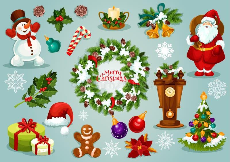 Grupo do ícone dos desenhos animados do feriado do Natal e do ano novo ilustração do vetor