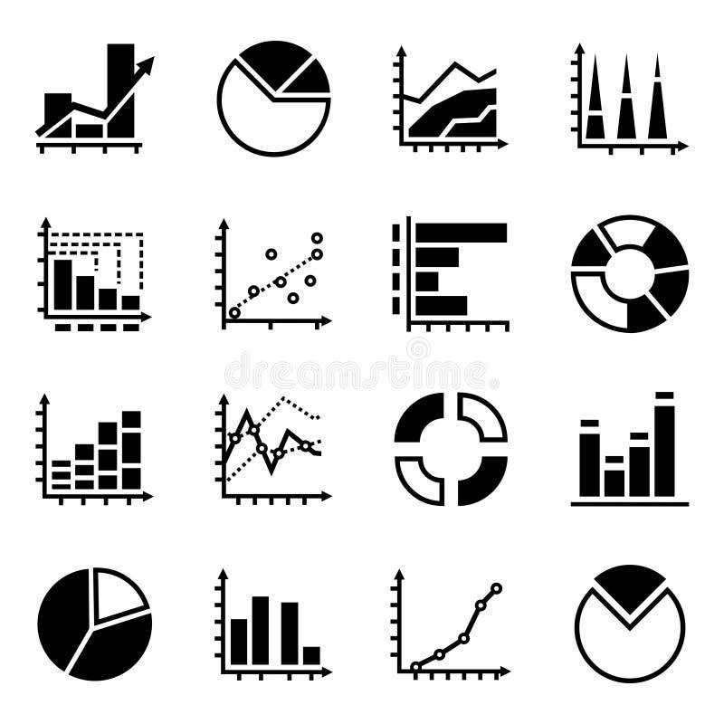 Grupo do ícone dos diagramas do vetor ilustração royalty free