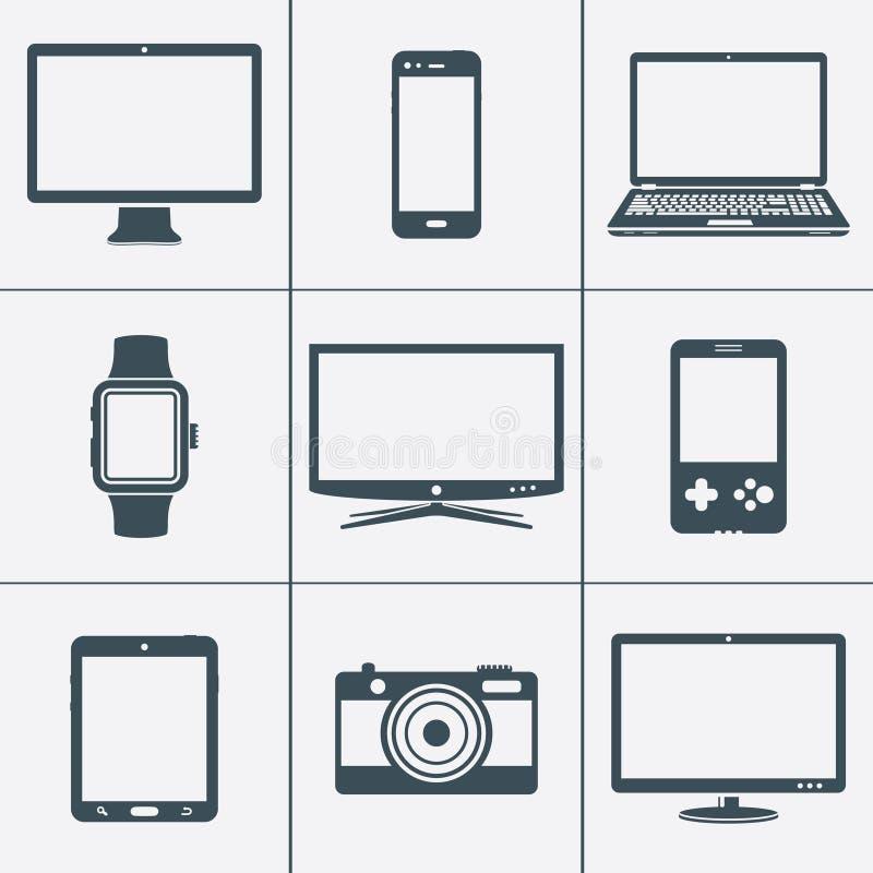 Grupo do ícone dos dispositivos de Digitas ilustração stock