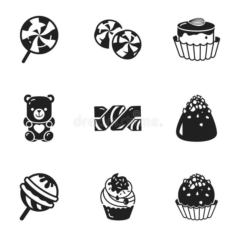 Grupo do ícone dos doces do aniversário, estilo simples ilustração stock