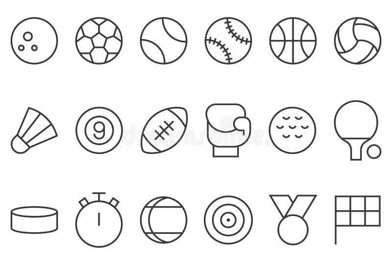 Grupo do ícone dos esportes ilustração do vetor