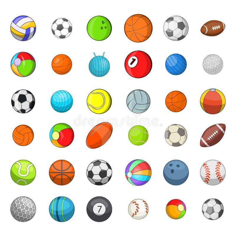 Grupo do ícone dos esportes da bola, estilo dos desenhos animados ilustração royalty free