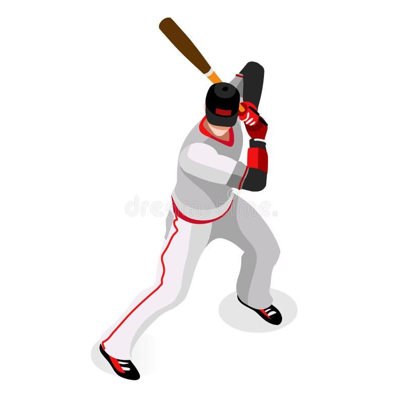 Grupo do ícone dos esportes do jogador de beisebol competição internacional do campeonato ajustado isométrico do basebol do espor ilustração do vetor