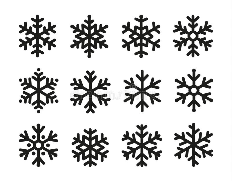 Grupo do ícone dos flocos de neve, projeto preto linear, coleção do símbolo do gelo, logotipo do vetor Elementos de anos novos de ilustração do vetor