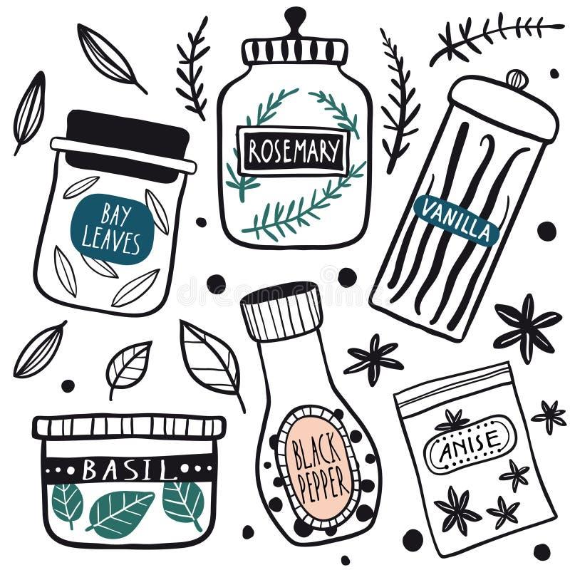 Grupo do ícone dos frascos das ervas e das especiarias ilustração royalty free