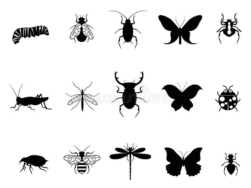 Grupo do ícone dos insetos ilustração stock