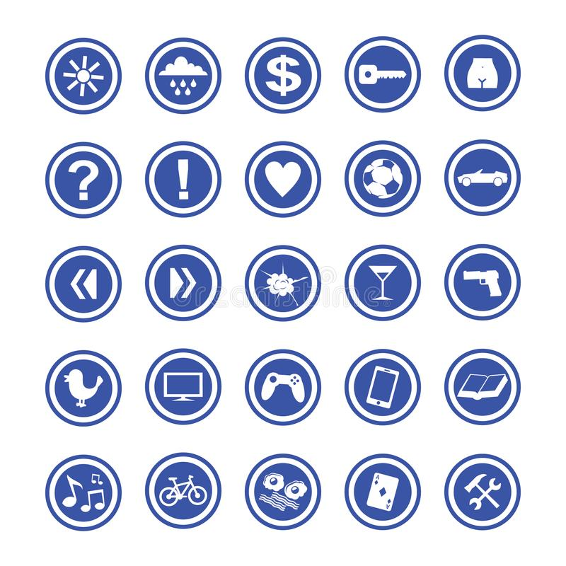Grupo do ícone dos interesses do homem, cor azul ilustração royalty free
