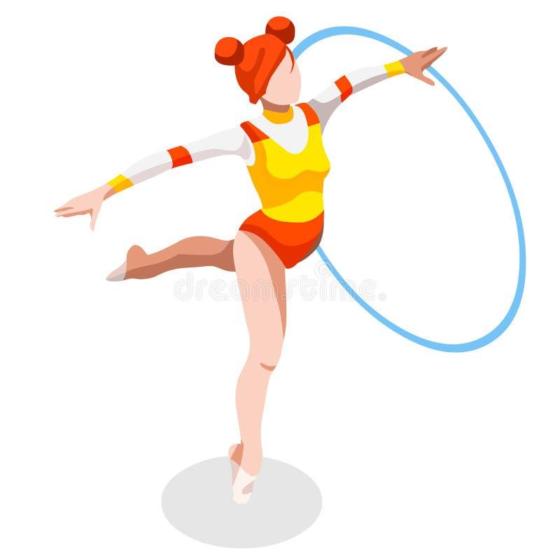 Grupo do ícone dos jogos do verão da aro da ginástica rítmica competição internacional ostentando isométrica do campeonato de 3D  ilustração royalty free