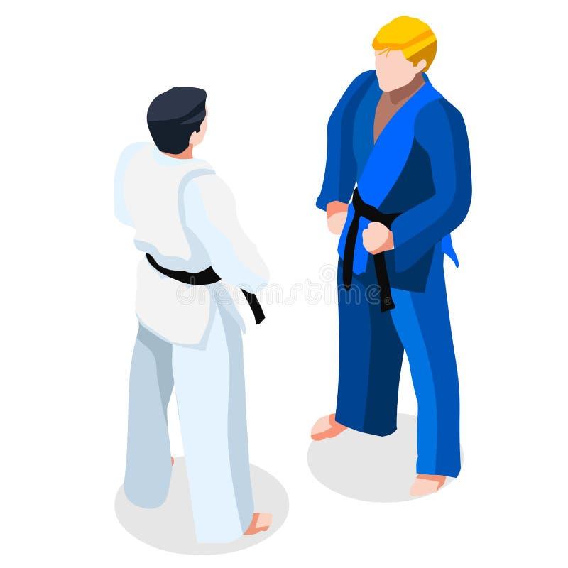 Grupo do ícone dos jogos do verão da luta do karaté do judô atleta 3D de combate isométrico ilustração do vetor