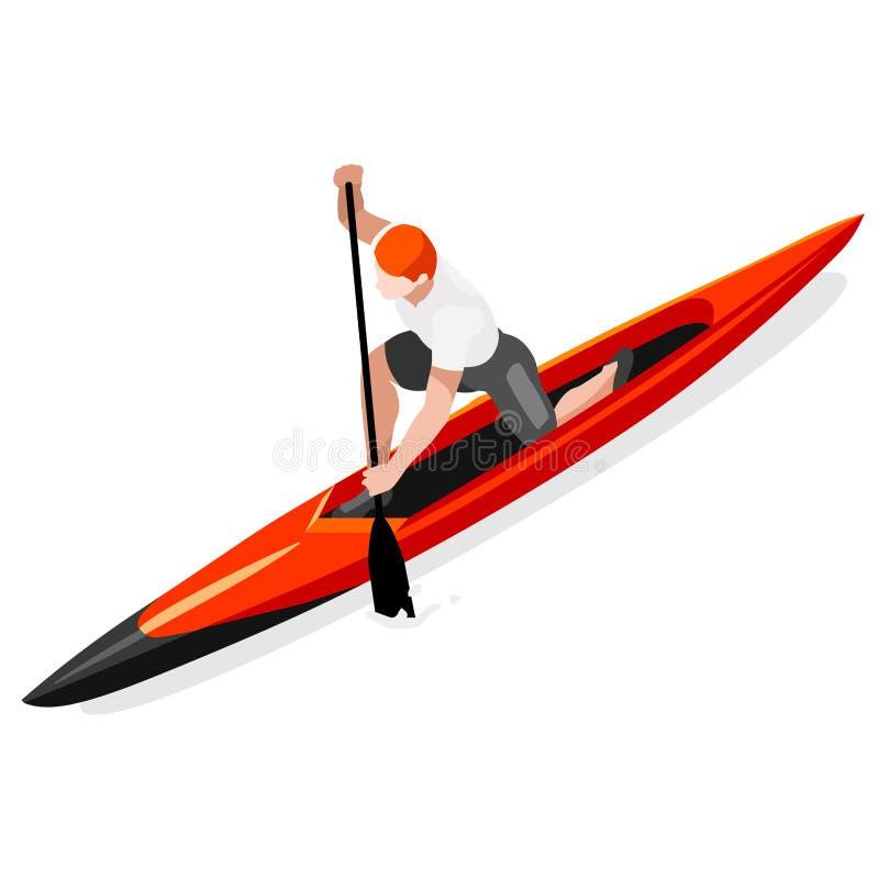 Grupo do ícone dos jogos do verão da sprint da canoa Paddler isométrico da canoísta 3D ilustração stock